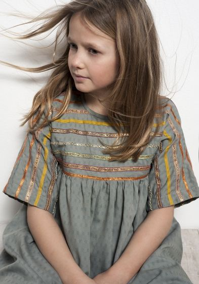 Short sleeved Playtime dress/tunic with ribbons across sleeves/bodice.