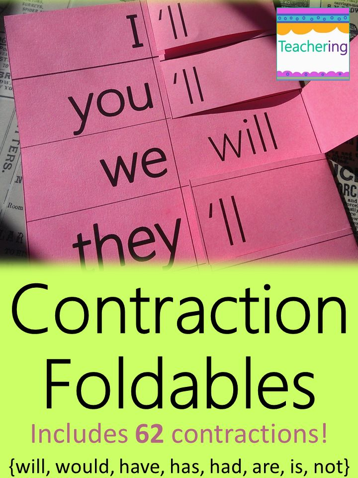 These contraction foldables are perfect for interactive student notebooks (ISNs) or foldable flashcards (never have students lose flashcards again)! Includes 62 contractions using will, would, have, has, had, are, is, and not. Great way to help visual learners and ELLs master contractions!