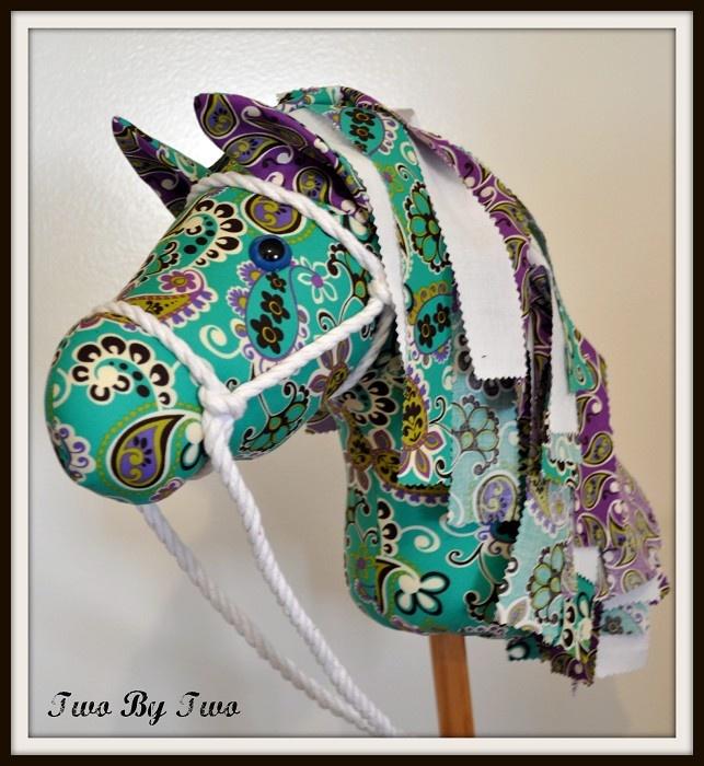 Beautiful handmade hobby horse. - I like the fabric strips as a mane instead of yarn -