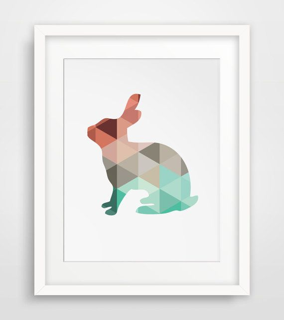 Mint & Coral Rabbit Print Rabbit Wall Art by MelindaWoodDesigns #nurseryart #nurseryprints #animaldecor