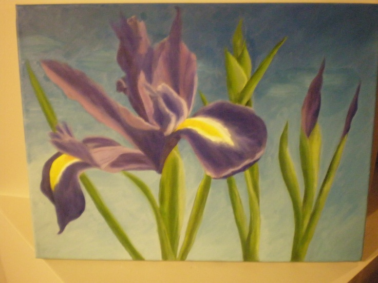 Oil painting.  Iris. March 2013