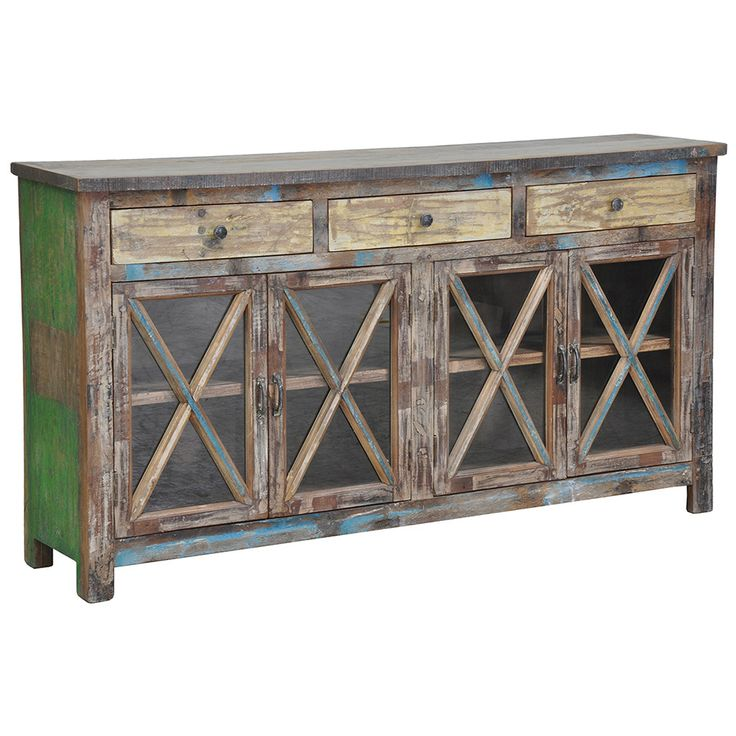Crafted Of Reclaimed Wood And Featuring 4 Glass Doors With X Shaped Designs This Eye Catching Buffet Lends Rustic Appeal To Your Dining Room Or Parlor