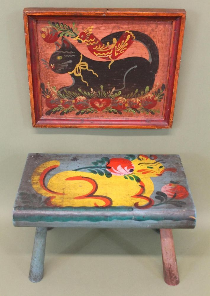 Antique Peter Hunt American Folk Art Cat Foot Stool