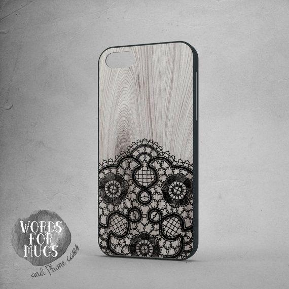 Black Lace iphone 6 case wood background by DeWadaSTORE