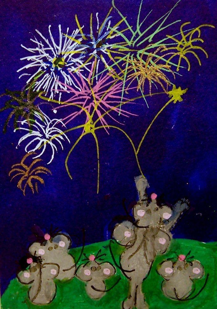 NFAC July ACEO Magic Night Fireworks mice Original Whimsical cartoon