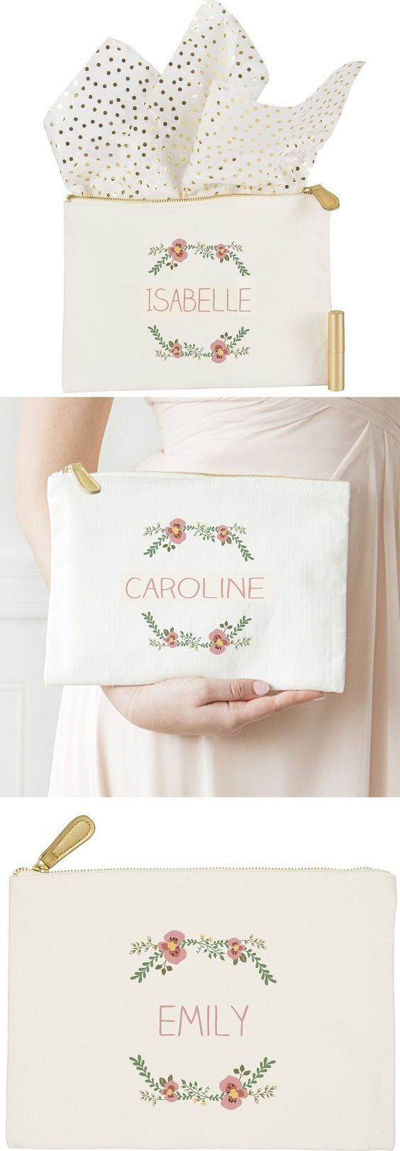 Bridal Party Idea - Have your bridesmaids carry floral design clutches instead of flowers or bouquets during your wedding ceremony. Personalized with each bridal party member's name or initial, your maid or matron of honor and bridesmaids will matching clutches to use during your wedding and every day thereafter. Add a personalized clutch to a tote bag with a few wedding day essentials for bridesmaids gifts that are memorable and practical.