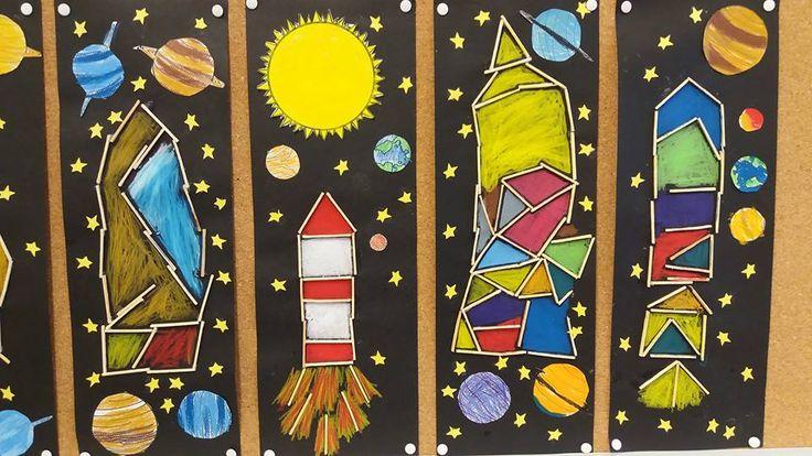 Raketit puutikuista, väritys vahaliiduilla, planeetat värityskuvina. Mallikuvat: Kati Kujanpää
