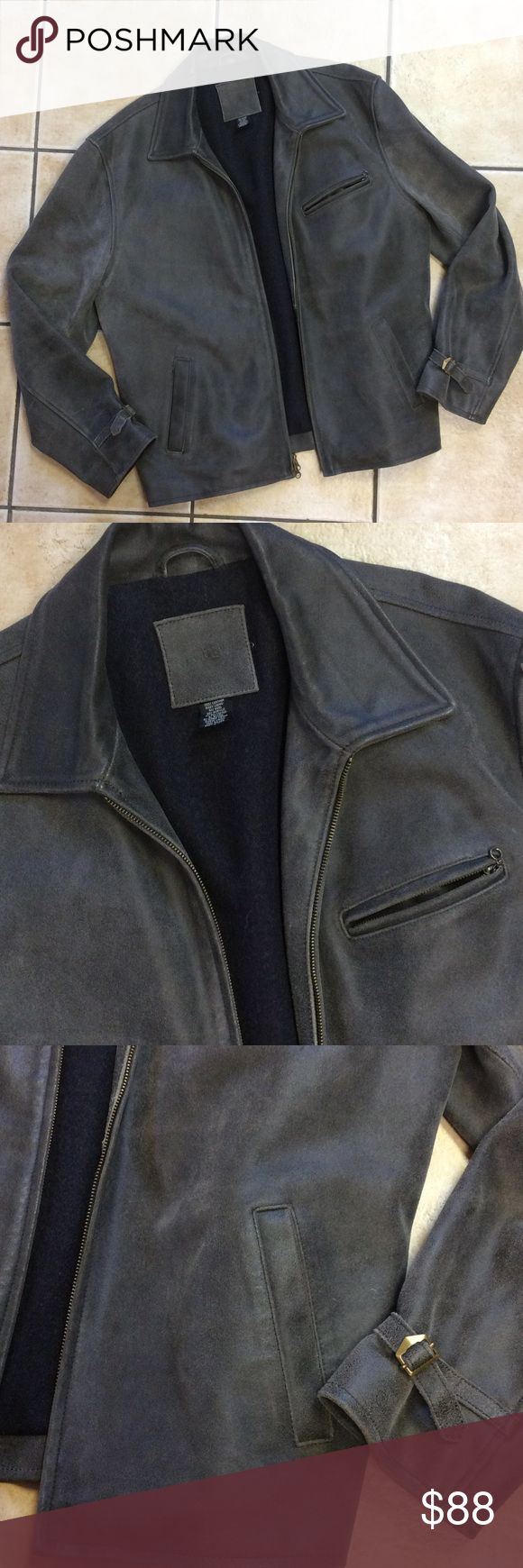 Men's Leather J.Crew Jacket! 100% leather J.Crew men's jacket. Zips up and has two pockets, and a small upper zip pocket.  Distressed stone wash style. Pre-owned with signs of wear. See last photo for blemishing. I believe this is just a superficial blemish, it's not a rip or scratch. It might just need to be hand washed in this area. It's located on the back left sleeve. Really heavy,well made jacket! 61% wool lining J.crew Jackets & Coats