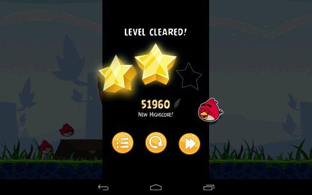 Angry Birds win screen