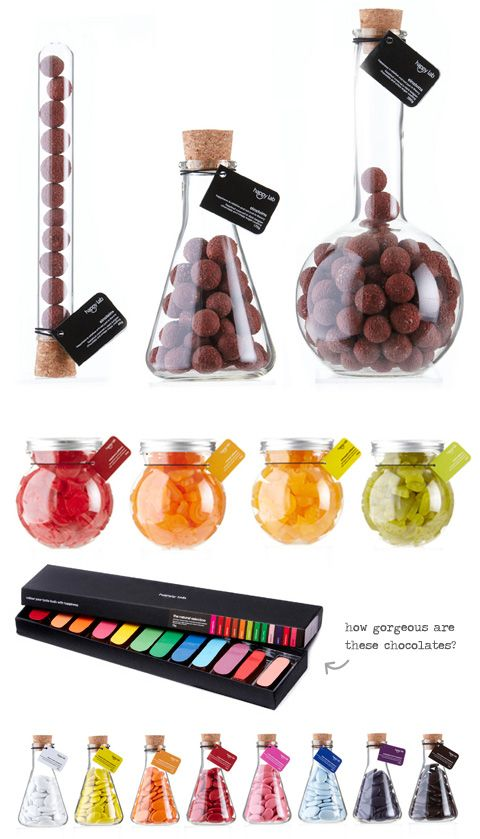 Happy Lab candy store packaging. Beakers and test tubes filled with colourful candy and chocolate line the walls whilst staff parade around in lab coats.