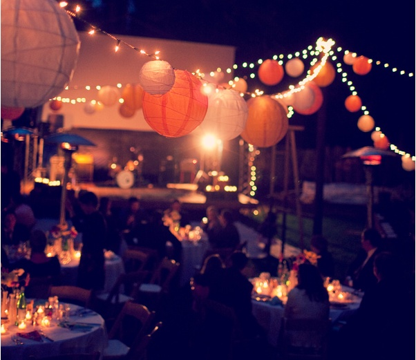 henry miller lib: Party'S Decor, Paper Lanterns, Backyard Parties, String Lights, Outdoor Parties, Parties Ideas, White Lanterns, Outdoor Party Decor, Parties Decor