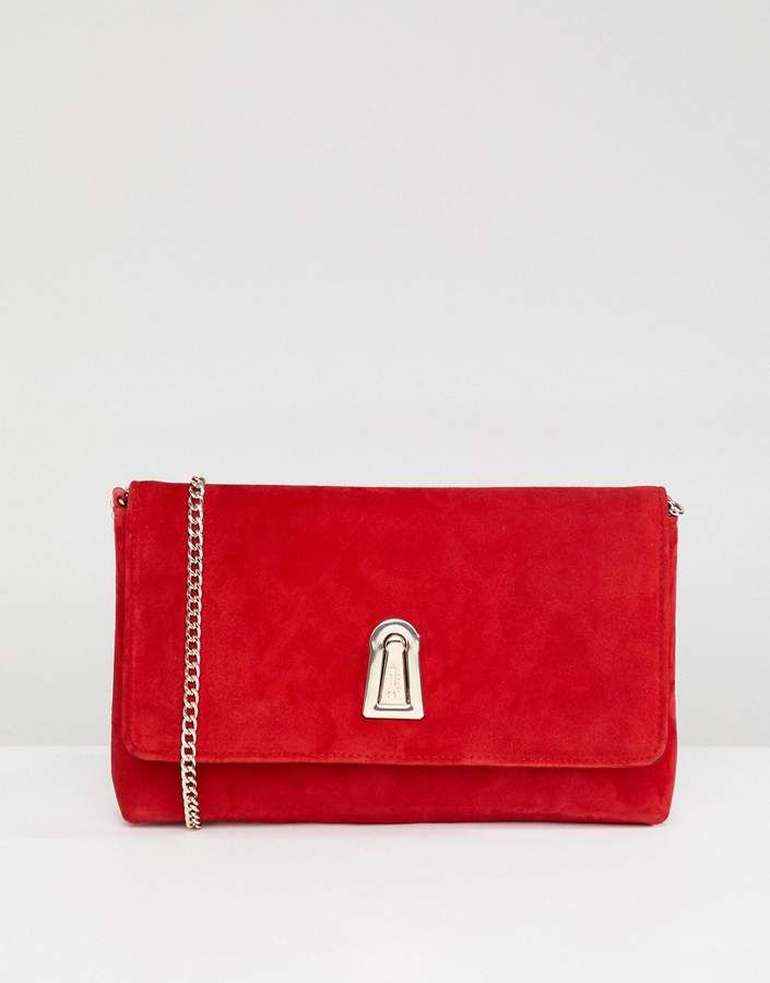 Dune Baloo <b>Red Suede</b> Clutch Bag With Twist Lock Opening And ...