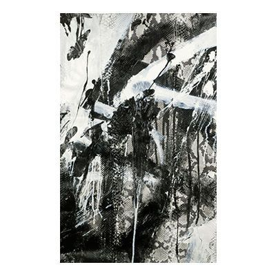 """""""Crash"""", mixed media abstract painting and drawing on matte natural python skin by New York City artist Jake Blake.  Blake uses an austere palette of black, white, and grey combining bold brush strokes, heavy layering, and deft, elegant drawing to create depth."""