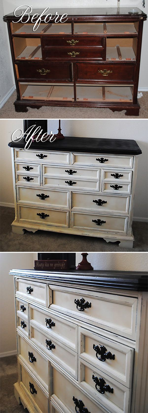 DISTRESSING :: Lovely distressed dresser makeover :: She used Krylon Ivory for the dresser and Oil Rubbed Bronze(ORB) for the handles. | #classyclutter
