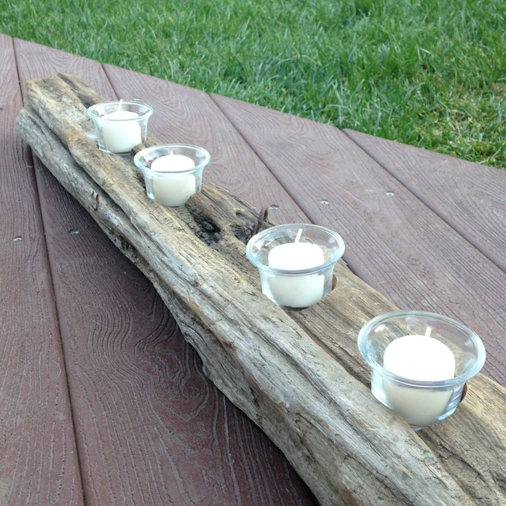 Repurposed Redwood Fence Post/Driftwood Candle Holder Centerpiece by McCutchwoodworks on Etsy
