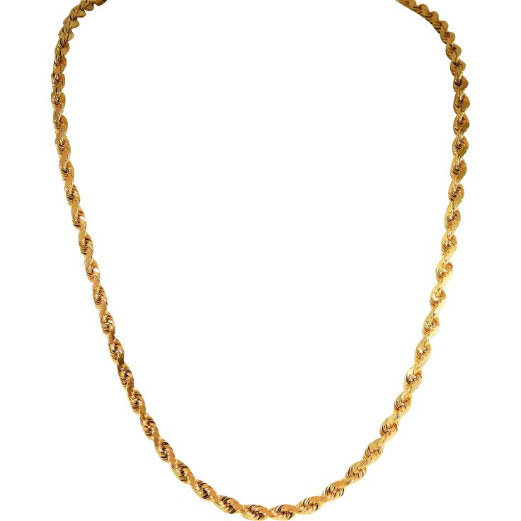 Handsome 3.5mm, 20 inch, Diamond-Cut 14k Gold Rope Chain