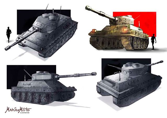 CONCEPT DESIGNS: ROBOTS AND TANKS / DISEÑO DE CONCEPTO ROBOTS Y TANQUES