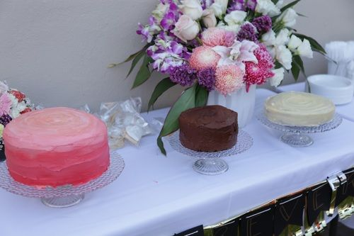 An engagement cake trio