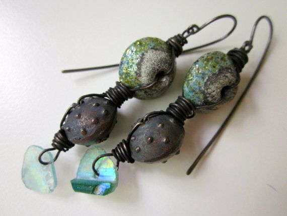 dark juniper primitive cosmic iridescent rainbow teal blue green roman glass crusty lampwork glass tribal bead black copper earrings by loveroot