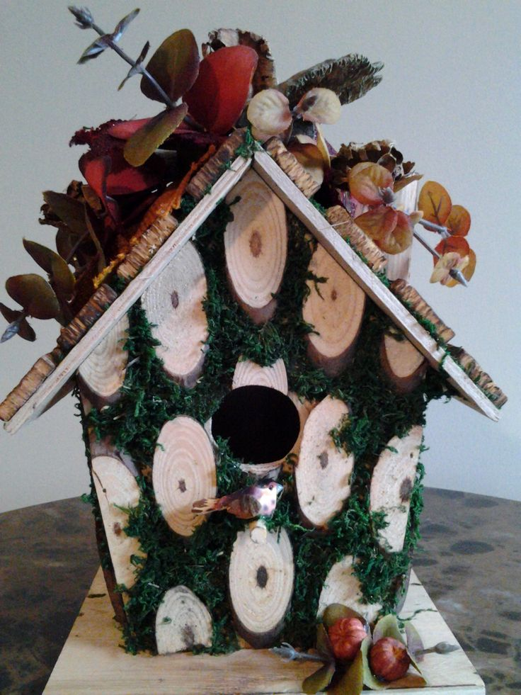 Rustic Wood And Moss Birdhouse With Fall Fabric Leaves, A Variety Of Pods,  Silk