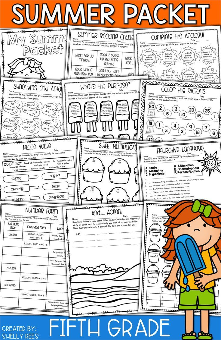 Summer packet for 5th grade makes summer review fun and easy! NO PREP packet  has summer math activitie…   Summer packet [ 1128 x 735 Pixel ]