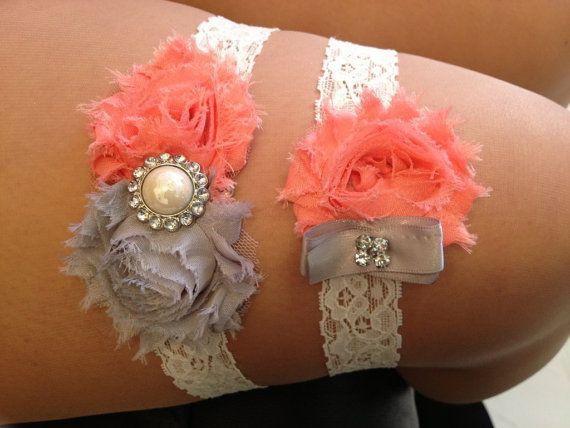 ON SALE - Coral / Grey Wedding Garter Set - Ivory Stretch Lace - Rhinestone Detail..., $18.00