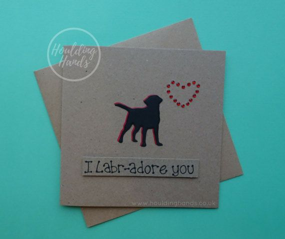Black Labrador Valentine's card dog silhouette by HouldingHands