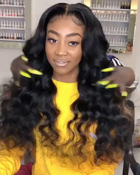 Gedeihen Haar 9A reines Haar elastische lose Welle 13 x 3 Lace Front Echthaar Perücken mit Baby Haare [V16-FRONT] Artikelnummer: V16-FRONT