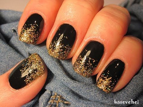 New Years Eve glitter gradient on black nails - Sylwestrowe paznokcie - ...