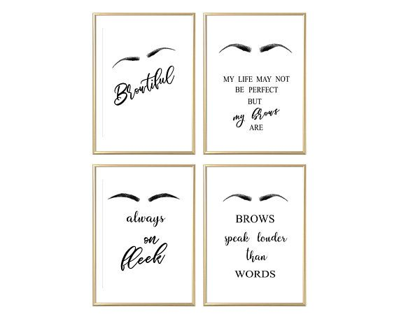 Salon Decor, Vanity Decor, Brows, Eyebrows, Microblading, Makeup Decor, Beauty Room Decor