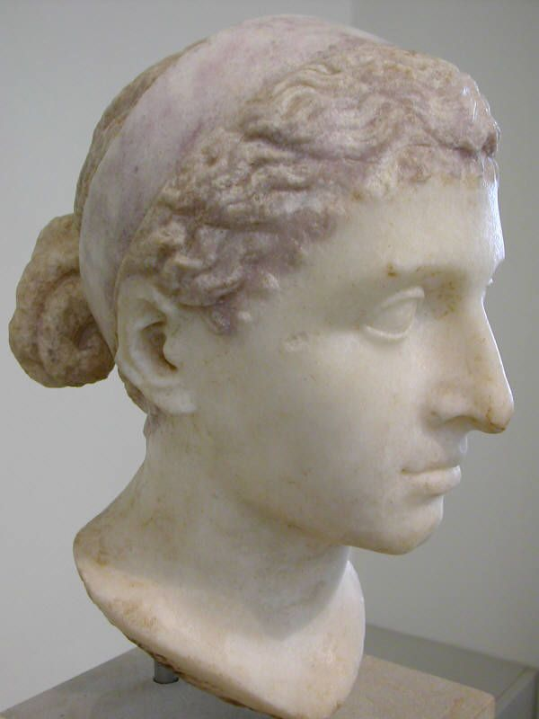 Sculpture found at an excavation of  Roman Emperor Hadrian's villa outside Rome. She is thought to be Cleopatra the last pharaoh of Ancient Egypt. The portrait wears the broad royal diadem of the Ptolemaic dynasty and the traditional melon hairstyle with a bun in the neck. The portait may have been made in Cleopatra's lifetime, 40-80 BC.