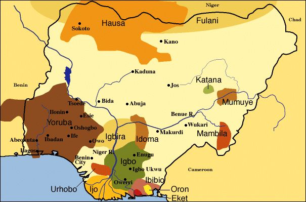 Photo Gallery Nigeria Africa | Simplified Map of the Peoples in Nigeria. Source