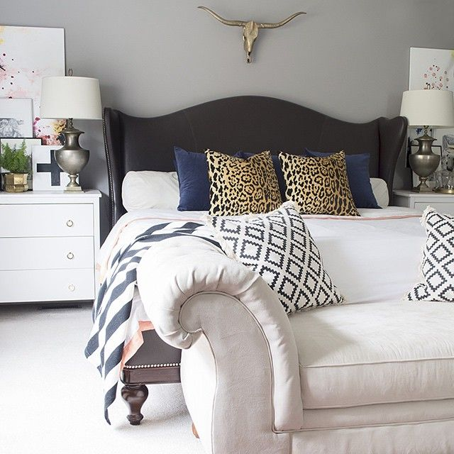A shot of the #bedroom from the #bloggerstylinhometours love my #brass #skull #BSHT
