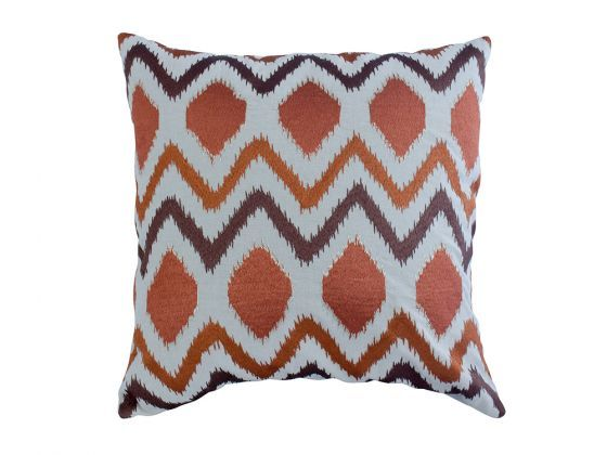 Embroidered Ikat Natural Cushion Cover