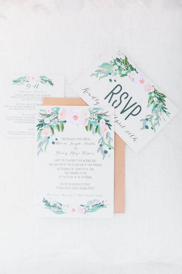 Floral watercolor paper suite: http://www.stylemepretty.com/arizona-weddings/greer/2015/09/14/rustic-romantic-arizona-summer-wedding-2/ | Photography: Andrew Jade - http://andrewjadephoto.com/