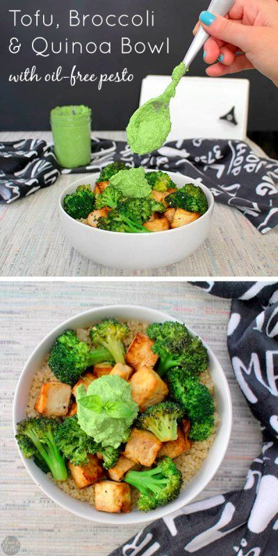 Simple Tofu Broccoli Bowl is a healthy meal that you can make in the oven or in the air fryer. @glueandglitter