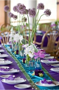 aqua and purple wedding - love the height and variety of this tablescape