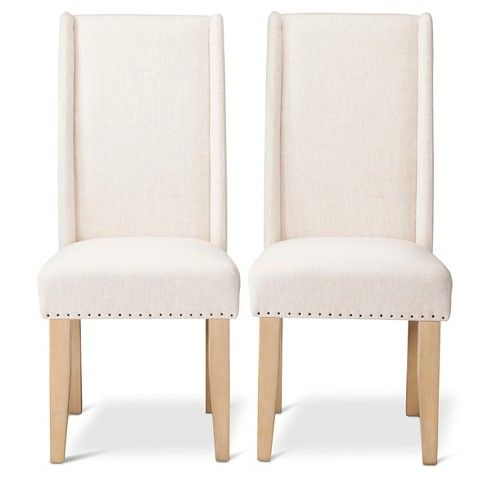 Charlie Modern Wingback Dining Chair with Nailheads - Cream (Set of 2)