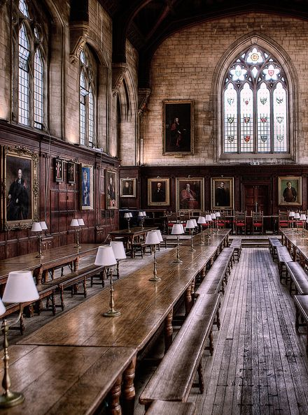 Oxford University Great Hall of Christ Church. - Fans of the Harry Potter films will instantly recognise this. It was the inspiration for the dining scenes at Hogwarts School for Wizardry. They didn't actually film here but replicated The Great Hall in the film studio.