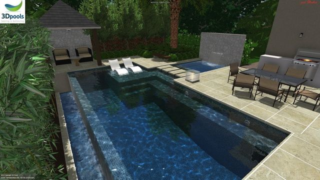 fun modern family pool with stone water feature wall spa with floating steppers plus a shallow sun lounge area buy this pool design and many