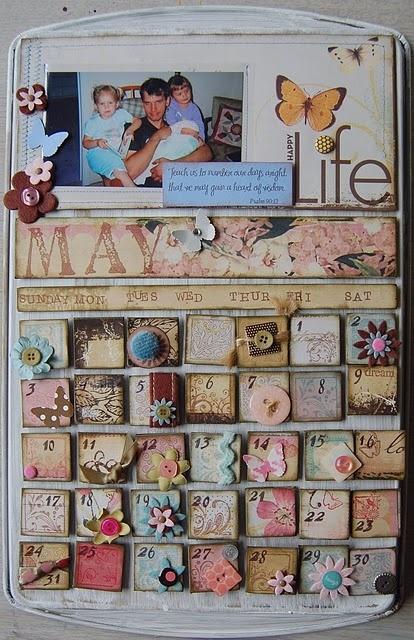 Perpetual calendar tutorial  http://scrapsfrommytable.blogspot.com/2009/05/tutorial-cookie-sheet-calendar.html