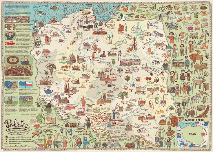 polska ilustracja dla dzieci: Mapa - Polska 25 lat wolności
