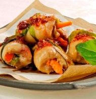 These Sweet & Spicy Chicken Rolls make great finger food.