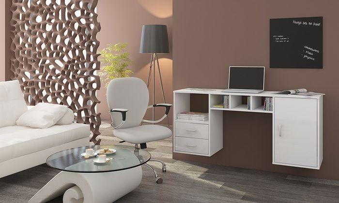 Ce bureau flottant Bari ou Graphen représente le choix pratique pour optimiser l'espace des bureaux, pièces familiales, cuisines ou entrées