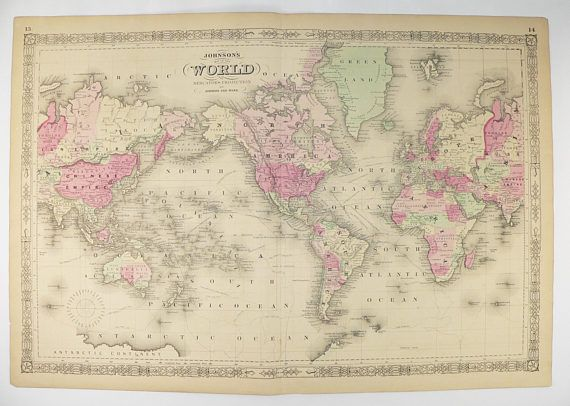 194 best antique world maps and hemisphere maps images on pinterest antique world map 1864 johnson map world on mercators projection vintage art map gumiabroncs Images