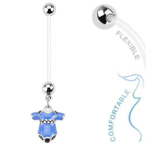 Pregnancy Belly Ring Boy or Girl Onsie 14ga Flexible Navel Ring