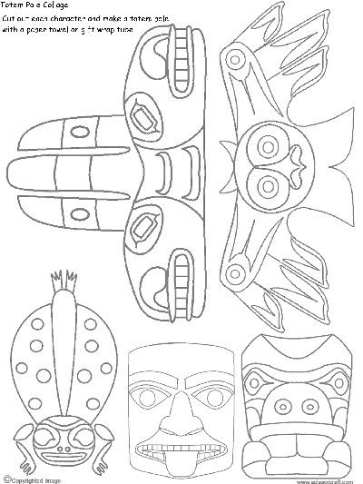 We've been learning about the art of totem poles carved by the people of  The Haida Nation. The Haida are an indigenous nation of the Pacific  Northwest Coast and their main home is Haida Gwaii, an archipelago off the  coast of British Columbia.