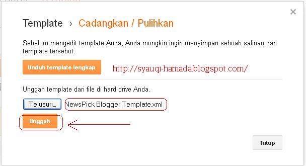 Unggah Tamplate NewsPick Blogger