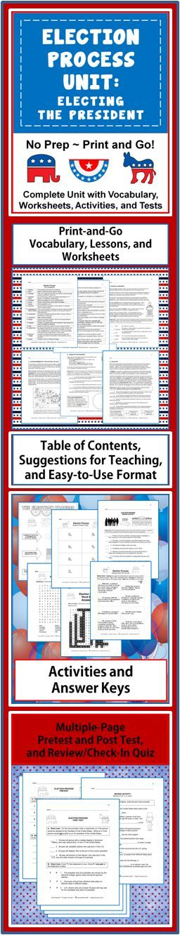 Election Process Unit: Electing the President~ Great print-and-go resource for teaching about the election process!  Well-organized and easy-to-use!  This flexible, 58-page resource is perfect, whether your instruction of the election process covers a few days or a few weeks.  Each lesson focuses on a single aspect of the election process, and can be used in sequence, or teachers can pick and choose!  $