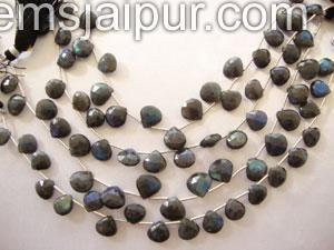 Labradorite Briollete Heart Gemstone Beads.